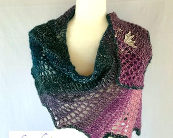 Dragon Shawl and Shawl Pin / Handmade Crochet / Handmade Jewelry / Women's gift idea / Unique / Purple / Pink / Teal