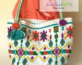 Spring Mochilla Style Handbag / Handmade Crochet / Green / Turquoise / Orange / Yellow / Purple / White  / Lined / Gift Idea
