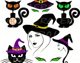 60 % OFF, Witch Face Svg, Halloween Svg, Witch Svg, Black cat svg, Halloween Witch Silhouette svg, dxf, ai, eps, png, Halloween Vector Files