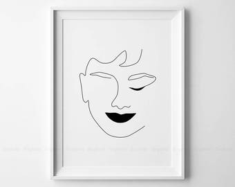 Abstract face printable minimalist body profile art simple for Minimal art face