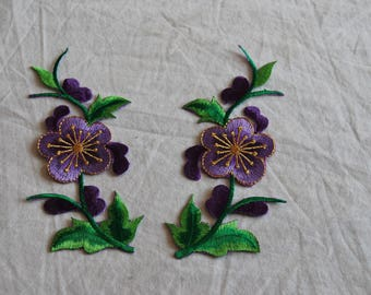 SET ~ 2 badges patch fusible applique flower purple gold