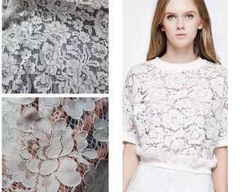 floral lace fabric 150x50cm off white