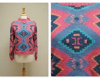 Vintage 80s Aztec Sweater ⎮ Vintage Knit Sweater ⎮ Multi-color Southwestern Jumper