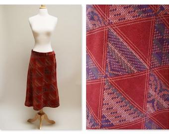 1970s Velveteen A Line Skirt ⎮ Vintage Rust Midi Skirt ⎮ 70s Boho Orange Skirt