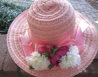Beautiful Large Peach Color Straw Garden Party Hat