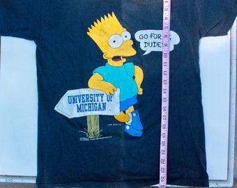 Vintage Bart Simpson University of Michigan U of M Wolverines The Simpsons 90's Nostalgia M Medium Vintage t-shirt