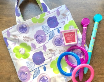 """LG Purple Flowers Bag ; 17"""" tall by 16"""" wide ; Cotton and Polyester ; Fabric Market Tote"""