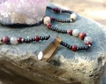 Smoky Quartz, Labradorite, Fancy Jasper Beaded Necklace