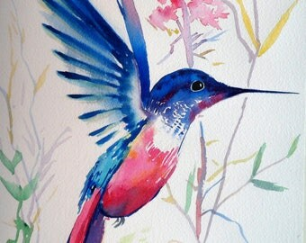 Original watercolor Painting Pink and Blue Hummingbird Home Decor Fine Art