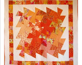 """PINWHEEL PUZZLE (CORAL), 48 1/2"""" x 49 """" quilted wall hanging"""