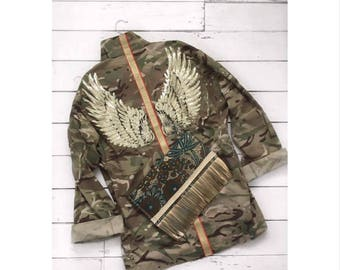 RESERVED..... FOR BECKY The Angel. Vintage camo jacket with golden wings and red and gold stripe
