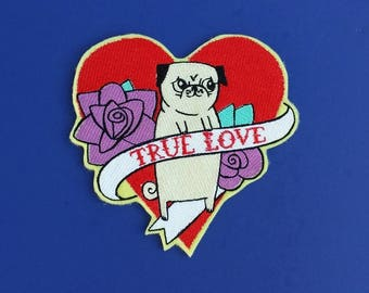 Pug patch, dog patch, true love patch, tattoo patch