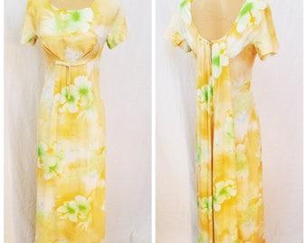 60's Aloha Maxi Dress. Empire Waist. Yellow Floral Dress. Boho Hippie Size Small