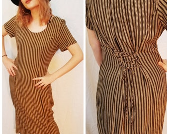90s Vintage grunge stripe dress. 90s black and tan dress. 90s rayon dress. Lace back dress. Size Small Medium