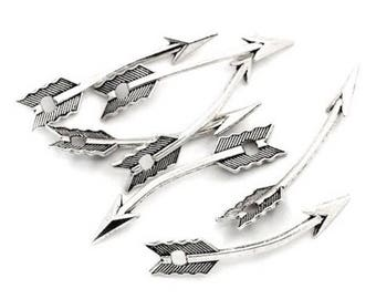 10 pendants charms silver arrow charm 35 mm