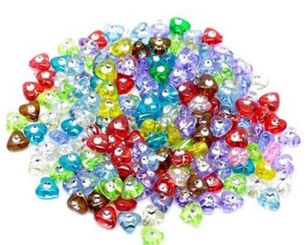 100 mixed acrylic beads 8 mm heart
