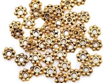 50 beads Intercalaires flower gold tone accessory 4 mm
