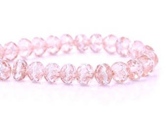 20 pink Transparent, 8mm faceted round shaped glass beads
