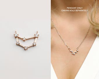 Rose Gold Plated Capricorn Constellation Pendant Crystal Zodiac Constellation Connector MignonandMignon Constellation Necklace - RZCP-CA