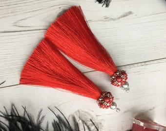 RED Tassel Earrings, embroidered with Swarovski pearls!