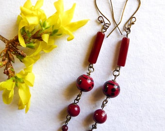 Long earrings made with red Jasper, fine stone, mineral gem stone, twirling lengths