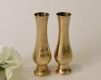 Set of Brass Bud Vases