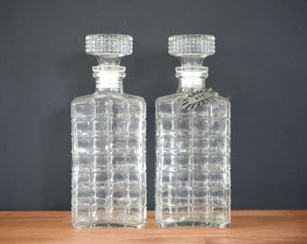 Glass decanters, rye, whiskey, scotch, midcentury, 1950s