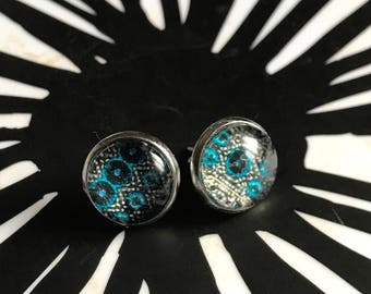 Handmade turquoise and navy cabochon earrings- 12mm