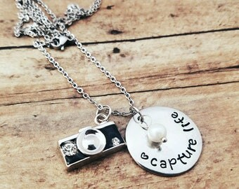 Photographer Necklace - Capture Life - Wedding Photographer Gift - Camera Charm Jewelry