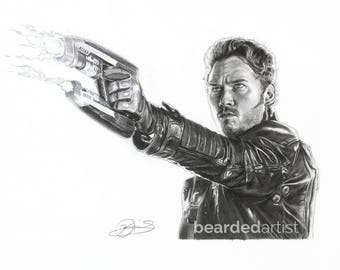 "8.5x11"" OR 11x17"" Print of Chris Pratt as Starlord from Guardians of the Galaxy"