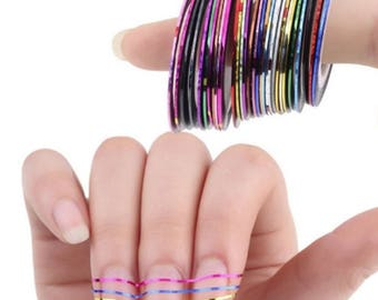 10 Rolls Nail Sticker Line Mixed Color Nails Striping Tape Decal For DIY 3D Nail Art Tips Decorations Foil