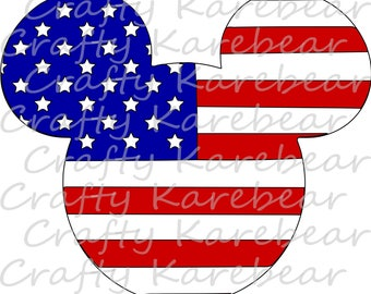American Flag Mickey Head SVG and DXF Ditial File Download