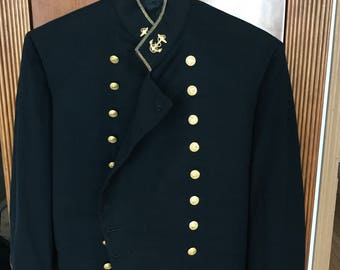 Vintage Black United States Naval Academy Military Jacket with Gold Detail