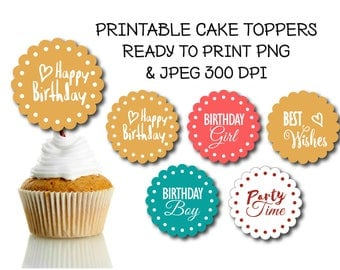 5 Printable colorful cupcake toppers, Happy birthday cupcake toppers, Round label, DIY topper, Printable tags, Birthday favors label