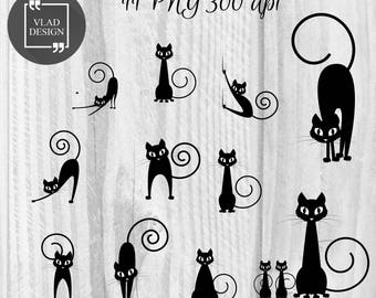11 Cats silhouettes clipart Black cat clipart Digital cat elements Halloween graphics Animal clipart Silhouettes clipart Cat clipart