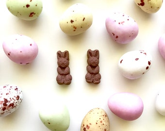 Chocolate Scented Easter Bunny Rabbit Earrings with Stainless Steel Posts - treats you can wear!