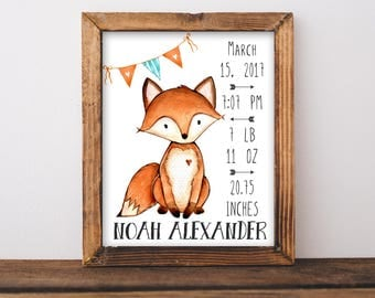 Fox Birth Stats Wall Art. Baby Stats. Orange and Aqua Nursery Decor. Personalized Baby Gift. Woodland Nursery Wall Art. Gift For Baby. Fox.