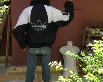 Sale Vintage 90s Adidas Trefoil Big Logo Hip Hop Heavy Windbreaker Jackets