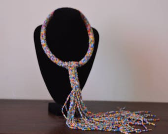 African Maasai Beaded Necklace | Mixed Color Tie necklace | African Jewelry | Tribal Ethnic Necklace | One size fits all | Gift for Her