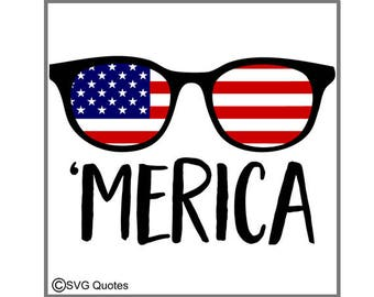 SVG Cutting File 'Merica Sunglasses DXF EPS For Cricut Explore, Silhouette. Instant Download. Personal/Commercial Use. Sticker Vinyl