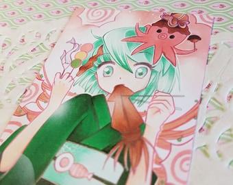 "ORIGINAL cocoa card / ACEO ""Hanami Set Pistachio"""