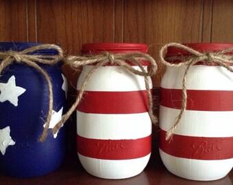 Set of 3 Rustic American Flag Mason Jars