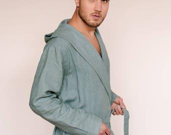 Linen bathrobe/hooded bathrobe/mens spa robe/summer bathrobe/luxury bathrobe/linen robe/mens luxury robe/mens hooded robe