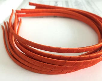 10pieces orange satin metal hair headband covered 5mm wide