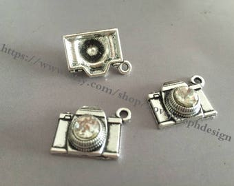 25 Pieces /Lot Antique Silver Plated 15mmx18mm Diamond Camera charms (#029)