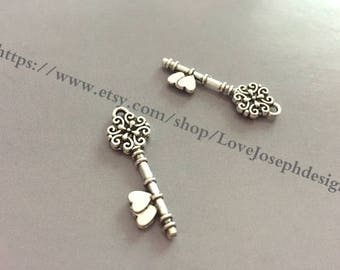 wholesale 100Pieces /Lot Antique silver Plated 10mmx31mm double side key Charms (#0934)