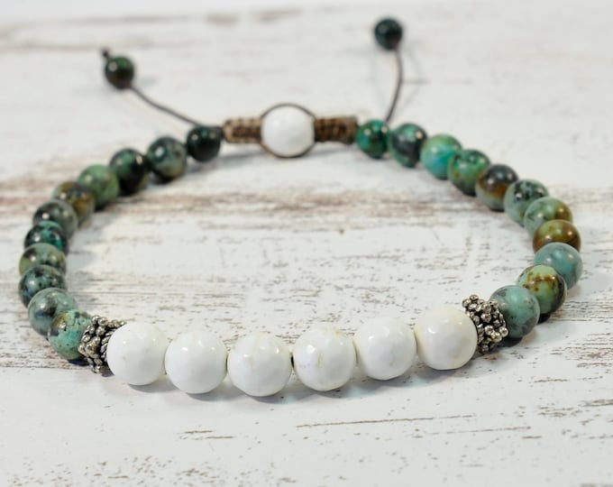 Urban Men's Turquoise & Howlite Pull Tie Single Bracelet. Boho Jewelry. Bohemian Jewelry. Ideas for him. Gift for him.