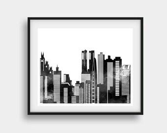 Tokyo Print, Tokyo Skyline, Tokyo Japan, Tokyo Art, Tokyo Skyline Art, Tokyo Office Art, Tokyo Wall Art, Tokyo Decor, Tokyo Wall Decor