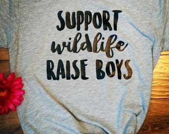 Support wildlife raise boys unisex tee soft quality shirt boy mom