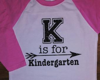 K is for Kindergarten youth raglan shirt with glitter
